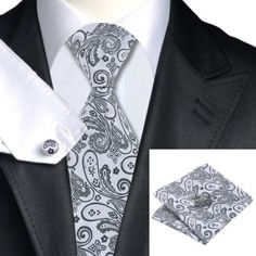 Gift Box Mens Silver And Black Paisley  Silk Tie+Hanky & Cuflinks Matching Set