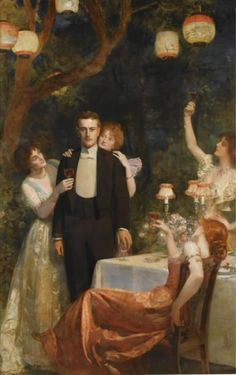 The Garden Party by John Collier (1860-1915). This chap, in full evening regalia, is certainly the center of attention - just what has he done to deserve their toasts?