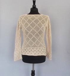 Vintage 90s does 70s Boho Tan Beige Crochet Knit Sweater Long Sleeve Shirt Top Grunge Hippie Beach Cover Up SoCal Backless Blouse Size Small...