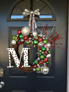 Ornaments Christmas Wreath for Doors with the family name's initial.