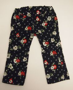 Navy Blue Floral Corduroy Jeans by LiasDollBoutique on Etsy