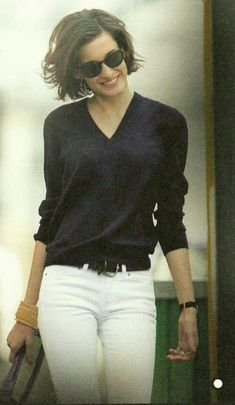 Classic navy and White This is the daughter of Ines de la Fressange. I`ve recently purchased her book `Parisian Chic`. It`s a fab style bible. Love this look! Style Outfits, Mode Outfits, Casual Outfits, Fashion Outfits, Style Casual, Casual Chic, Style Me, Simple Style, Casual Fridays