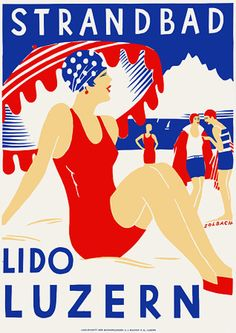 Vintage Beach Lido Lucerne Switzerland Art Deco Travel Posters Prints