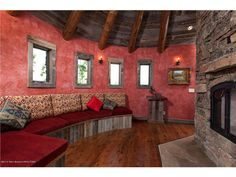 spring creek ranch home mansion 3 red walls and fireplace