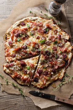 Rustic Pizza with Ham, Grapes, Shallots and Thyme