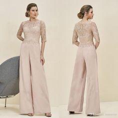 b150c5da263f Long Mother Of The Bride Pant Suits Half Sleeve Jumpsuit Lace Chiffon  Custom New