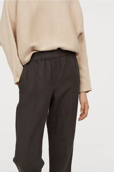 Linen-blend Pull-on Pants - Dark taupe - Ladies Fashion Art, Joggers Outfit, Joggers Womens, Pull On Pants, Linen Pants, Ankle Length, Everyday Fashion, Black Pants, Taupe
