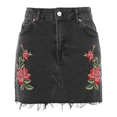 Topshop Moto Rose Embroidered Skirt found on Polyvore featuring polyvore, women's fashion, clothing, skirts, topshop, black, mini skirt, floral print skirt, topshop skirts and floral print mini skirt