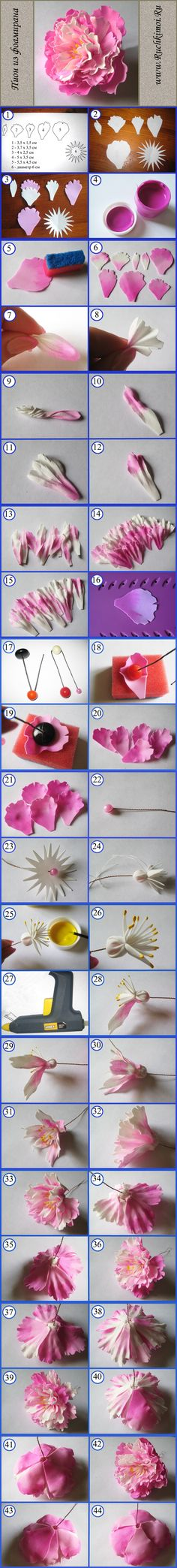 Discover thousands of images about Fabric flower tutorial that would work well with watercolor paper as well. Crepe Paper Flowers, Felt Flowers, Diy Flowers, Fabric Flowers, Polymer Clay Flowers, Polymer Clay Crafts, Fleurs Diy, Gum Paste Flowers, Flower Template