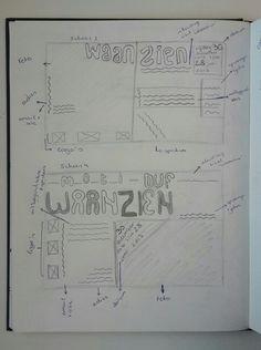 Concept 2 (opvallende/vreemde beelden): schets 3+4