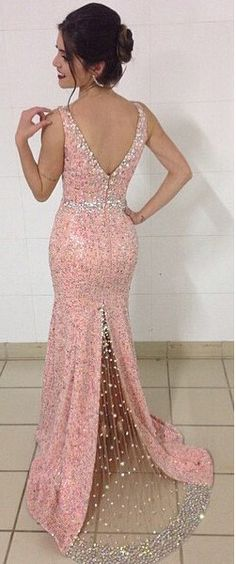 Coral Prom Dress,V Neck Homecoming Dress,Beading Homecoming Dress,Prom Dress Beaded,Mermaid Evening Dress,Prom Dress with Split Leg,V Neck Prom Dress,Floor Length Party Dress,2016 Homecoming Dress