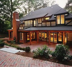 Brick in herringbone pattern. I love this kind of building. It looks so nice and comfortable ^^