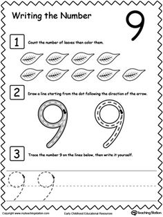 Learn to Count and Write Number 9 | Worksheets, Count and Number