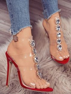 Transparent Strap Glittering Embellished Heeled Sandals