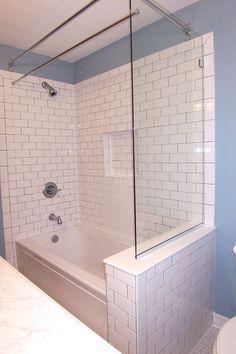 Ideas bath room tub remodel bathtubs glass showers for 2019 Half Glass Shower Wall, Bathtub With Glass Door, Glass Shower Panels, Tub Shower Doors, Bathroom Shower Panels, Bathtub Shower Combo, Shower Tiles, Bathroom Faucets, Bathtub Enclosures
