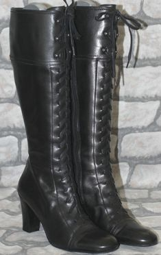 Next Black Leather Victorian Steampunk Goth Officer Lace Up Knee High Boots 7 41