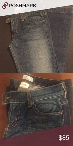 Armani Exchange Jeans Never been warn jeans. Most likely will need to be hemmed - won't change the design of the jeans as they already have a cute wide stitched hem at the bottom of the leg. Size 0 regular Armani Exchange Jeans Boot Cut