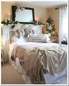 Holiday Bedroom Decor - LOVE the fireplace mantel headboard Christmas Bedroom, Cozy Christmas, Country Christmas, Burlap Christmas, Xmas, Beautiful Christmas, Elegant Christmas, Christmas Stockings, Christmas Morning