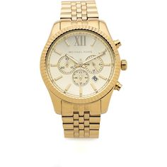 Michael Kors Men's Oversized Lexington Watch found on Polyvore featuring jewelry, watches, gold, gold tone bracelet, stainless steel jewelry, michael kors jewelry, hinged bracelet and oversized watches