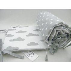 Ochraniacz do łóżeczka Biało Szary - chmurki gwiazdki