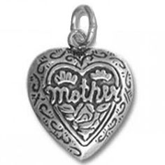 Mother Heart Sterling Silver Charm or Pendant