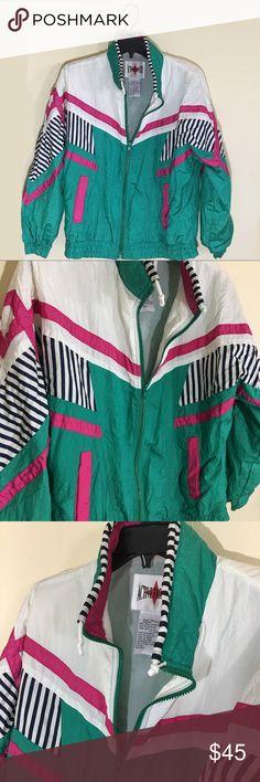 Vintage 80s / 90s windbreaker jacket No flaws  Size Petite Medium  Fits regular size Medium  100% Nylon Vintage Jackets & Coats