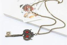 Gothic Key Owl Necklace