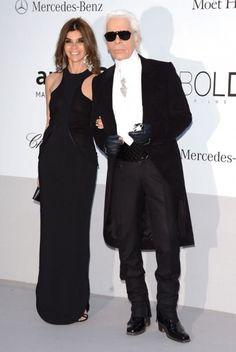Cannes - Carine Roitfled accompagnée du directeur artistique de Chanel Karl Lagerfeld