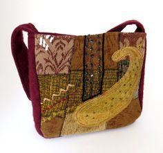 Gold TAPESTRY and RED Wool Purse from by rescuedbykathleen on Etsy, $45.00