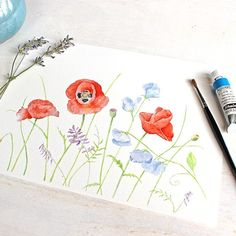 A wonderfully romantic tangle of beautiful poppies and sweet peas. What a joy it was to paint this cheerful image. This print of my watercolor painting would look beautiful in many rooms of a house. I