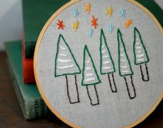 Holiday Embroidery Hoop Art Whimsical Christmas by homeforhire, $32.00