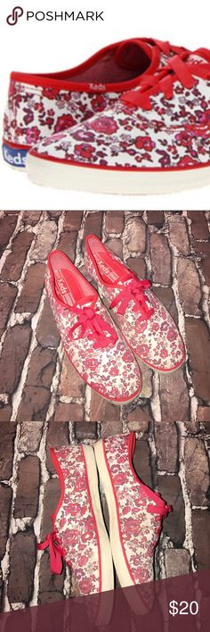 KEDS~Champion Red Floral Canvas Sneakers~10 Show some use, but lots of life left..mild surface soil and a few nicks to the rubber logos at heels. Keds Shoes Sneakers