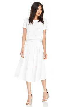 JOA Sequin Floral Midi Skirt in Ivory XS - L | DAILYLOOK
