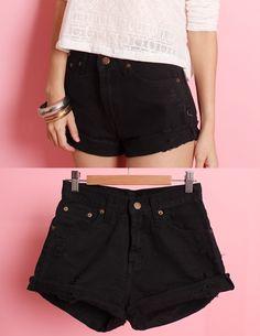 Essential Black Denim Shorts