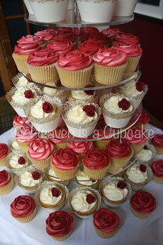 wedding cupcake burgandy | Ivory vanilla cupcakes with handmade burgundy roses and burgundy/ivory ...
