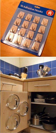 Rangements pour couvercles sur vos portes d'armoires