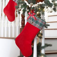 Holiday DIY: Make a plain red stocking festive in no time with some plaid fabric and baker's twine.