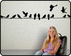 Décalque de mur d'oiseaux sur le fil 12 pieds de Long - vinyl mural autocollant décoration pour la maison 25€