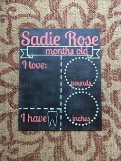 Monthly baby chalkboard?! Perfect way to track baby's growth and milestones!