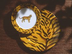 tiger dinner plates: dessert plate and charger/so jungle! (#safari, #out of africa, #jungle) Jungle collection, safari, , Dinnerware, porcelain, Africa, hand made,FRAGILE by Patricia Deroubaix.Limoges France