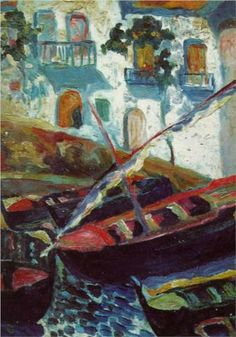 Boats in the bay of Cadaques - Pianc, Salvador Dali 1919 Post- impressionism L'art Salvador Dali, Les Religions, Spanish Painters, Post Impressionism, Impressionist Art, Art Moderne, Famous Artists, Modern Art, Sculptures