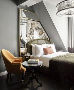 Narrow bed in Mansarde Hotel Lobby Design, Modern Bedroom Design, Master Bedroom Design, Hotel Decor, Decoration Design, Luxury Interior Design, Luxurious Bedrooms, Bedroom Eyes, Cozy Bedroom