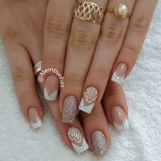 Ideas for nails art wedding ongles Cute Nails, Pretty Nails, My Nails, Bride Nails, Prom Nails, Wedding Acrylic Nails, Trendy Nail Art, Fabulous Nails, French Nails