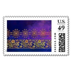 BALMORAL MIST: AMETHYST and GOLD Postage Stamp