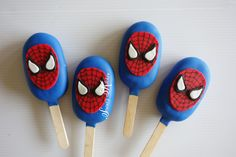 Spiderman cakesicles by 3rd Birthday Cakes, Superhero Birthday Party, 4th Birthday, Cake Pops, Paletas Chocolate, Strawberry Truffle, Magnum Paleta, Chocolate Covered Treats, Cake Truffles