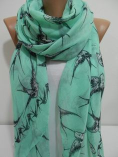 Bird Print Scarf Shawl, Mint Green Cowl Scarf, Swallow Long Scarf, Oversize Scarf, Lightweight Cotton Scarf, Gifth For Her, MiracleShine