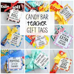 Teacher Appreciation Gifts-Candy Bar Gift Tags Need some simple teacher appreciation gifts-try these fun gift tags that coordinate with candy bars. All you need to do is buy the candy bar and add the tag! Teacher Candy Gifts, Teacher Gifts From Class, Candy Bar Gifts, Teacher Treats, Teacher Appreciation Week, Employee Appreciation, Student Teacher, Candy Bar Sayings For Teachers, Small Gifts For Teachers