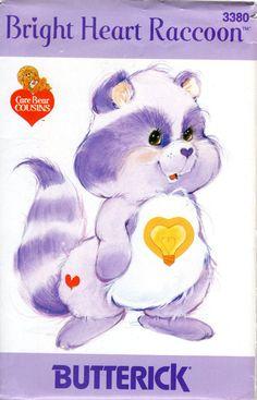 années 1980 care Bear Cousins en peluche raton laveur Pattern - Vintage Butterick 3380 - coeur lumineux raton laveur FF non CIRCONCIS