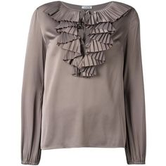 P.A.R.O.S.H. 'Piano' blouse featuring polyvore women's fashion clothing tops blouses green green top brown tops green blouse brown blouse