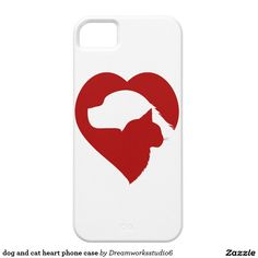 dog and cat heart phone case